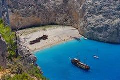 Summer landscape. Navagio Beach - Zakynthos Island, landmark attraction in Greece. Ionian Sea. Seascape Stock Photography