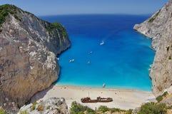 Summer landscape. Navagio Beach - Zakynthos Island, landmark attraction in Greece. Ionian Sea. Seascape Royalty Free Stock Photography