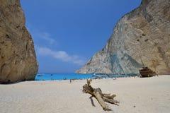 Navagio beach with a shipwreck on Zakynthos, Greece Stock Photo