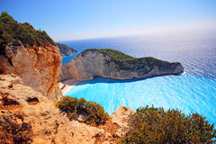 Navagio beach ( Shipwreck ) on Zakynthos island Royalty Free Stock Photography
