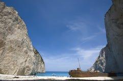 Navagio beach. Smuggler's shipwreck at Navagio beach, Zakynthos Stock Photo