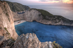 Navagio beach at sunset, Zakynthos Stock Images