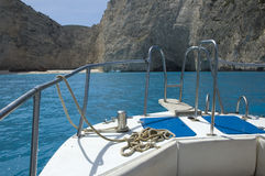 Navagio beach. View of smuggler's shipwreck at Navagio beach from the seaside, Zakynthos Royalty Free Stock Photo