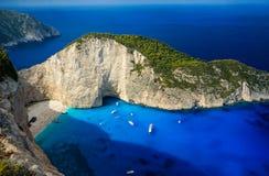 Navagio Beach in Zakynthos. Blue water in Navagio Beach in Zakynthos, Greece stock images