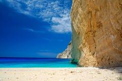 Navagio Beach in Zakynthos. Blue water in Navagio Beach in Zakynthos, Greece stock photos