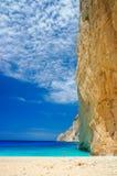 Navagio Beach in Zakynthos. Blue water in Navagio Beach in Zakynthos, Greece royalty free stock images