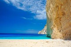 Navagio Beach in Zakynthos. Blue water in Navagio Beach in Zakynthos, Greece stock photography