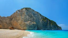 Navagio Beach in Zakynthos. Blue water in Navagio Beach in Zakynthos, Greece stock image