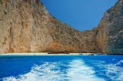 Navagio Beach in Zakynthos. Blue Water in Navagio Beach, Zakynthos, Greece royalty free stock photography