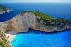 Navagio Beach in Zakynthos. Blue Water in Navagio Beach, Zakynthos, Greece royalty free stock photos