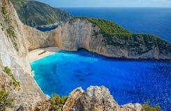 Navagio Beach in Zakynthos. Blue Water in Navagio Beach, Zakynthos, Greece stock photo