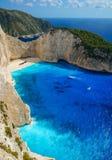 Navagio Beach in Zakynthos. Blue Water in Navagio Beach, Zakynthos, Greece stock images