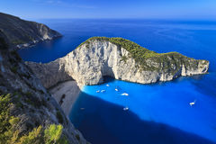 Navagio beach in Zakynthos, Greece Stock Photography