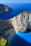 Navagio beach in Zakynthos, Greece Royalty Free Stock Image