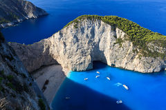 Navagio beach in Zakynthos, Greece Stock Images