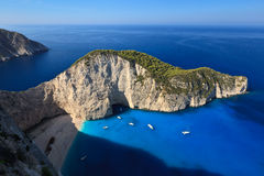 Navagio beach in Zakynthos, Greece Stock Photo