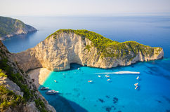 Navagio beach on Zakynthos island, Greece Stock Photography