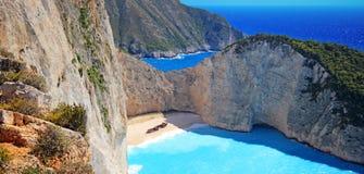 Navagio beach on Zakynthos island, Greece Royalty Free Stock Photos