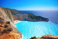 Navagio beach on Zakynthos island, Greece Royalty Free Stock Images