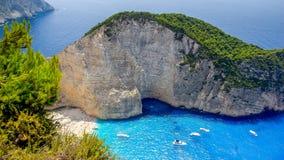 Navagio beach, Zakynthos island in Greece. Stock Photo