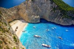 Navagio beach, Zakynthos island in Greece. Stock Images