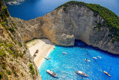 Navagio beach, Zakynthos island in Greece. Royalty Free Stock Photos