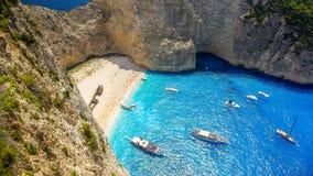Navagio beach, Zakynthos island in Greece. Royalty Free Stock Photography
