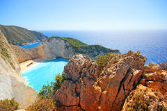 Navagio Beach  on Zakynthos Island at sunset, Greece Royalty Free Stock Images