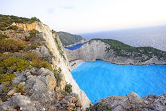 Navagio Beach  on Zakynthos Island at sunset, Greece Royalty Free Stock Image