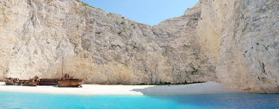 Navagio beach at Zakynthos Royalty Free Stock Images