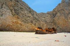 Navagio Beach in Zakynthos. Shipwreck Navagio Beach in Zakynthos, Greece stock photo
