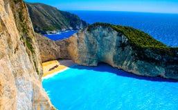 Navagio fjärd och skepphaveri Zakynthos grekisk ö i det Ionian havet arkivfoton