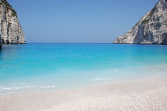 Navagio - het eiland blauw overzees van Zakynthos strand Griekenland Stock Afbeeldingen