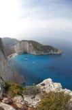 Море пляжа Navagio Ionian Стоковая Фотография