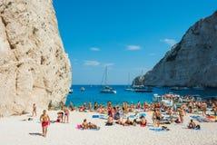 Navagio plaży Zakynthos Ionian wyspy Obrazy Stock