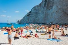 Navagio plaży Zakynthos Ionian wyspy Zdjęcia Royalty Free