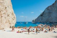 Navagio plaży Zakynthos Ionian wyspy Obraz Stock