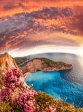 Navagio plaża z shipwreck i kwiatami na Zakynthos wyspie, Grecja obraz royalty free