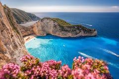 Navagio plaża z shipwreck i kwiatami na Zakynthos wyspie, Grecja obrazy stock