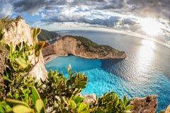 Navagio plaża z shipwreck na Zakynthos wyspie w Grecja zdjęcia stock