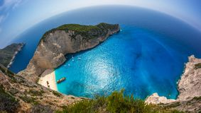 Navagio Shipwreck beach - One of the most famous beach in the wo Stock Photography