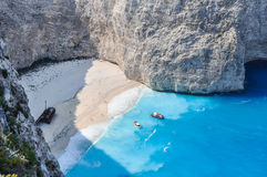 Navagio shipwreck beach, Zakynthos, Greece Stock Images