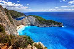 Navagio (Shipwreck) Beach in Zakynthos island, Greece. Navagio Beach is a popular attraction among tourists visiting the island of Zakynthos.The best beaches Stock Photo