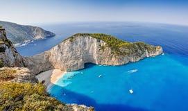 Navagio shipwreck plaża, Zakynthos, Grecja Fotografia Stock