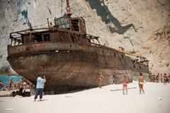 Navagio skeppsbrott Arkivbild
