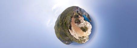 Navagio Strand-Panorama Lizenzfreie Stockfotos