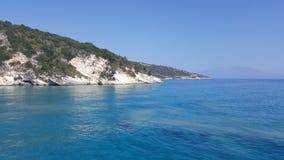 Navagio strandpanorama, Zakynthos, Grekland Arkivbild