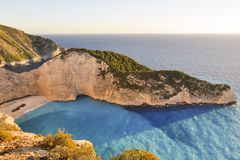 Navagio view from cliff during sunset. stock photos
