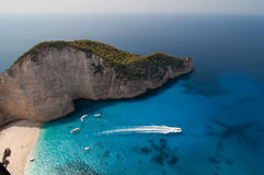 Navagio, Zakinthos, Griekenland Stock Foto's