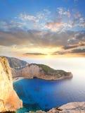 著名Navagio海滩, Zakynthos,希腊 库存图片